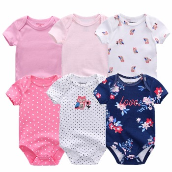 Baby bodysuits short sleeve 6 pcs/lot for 0-12M baby 5