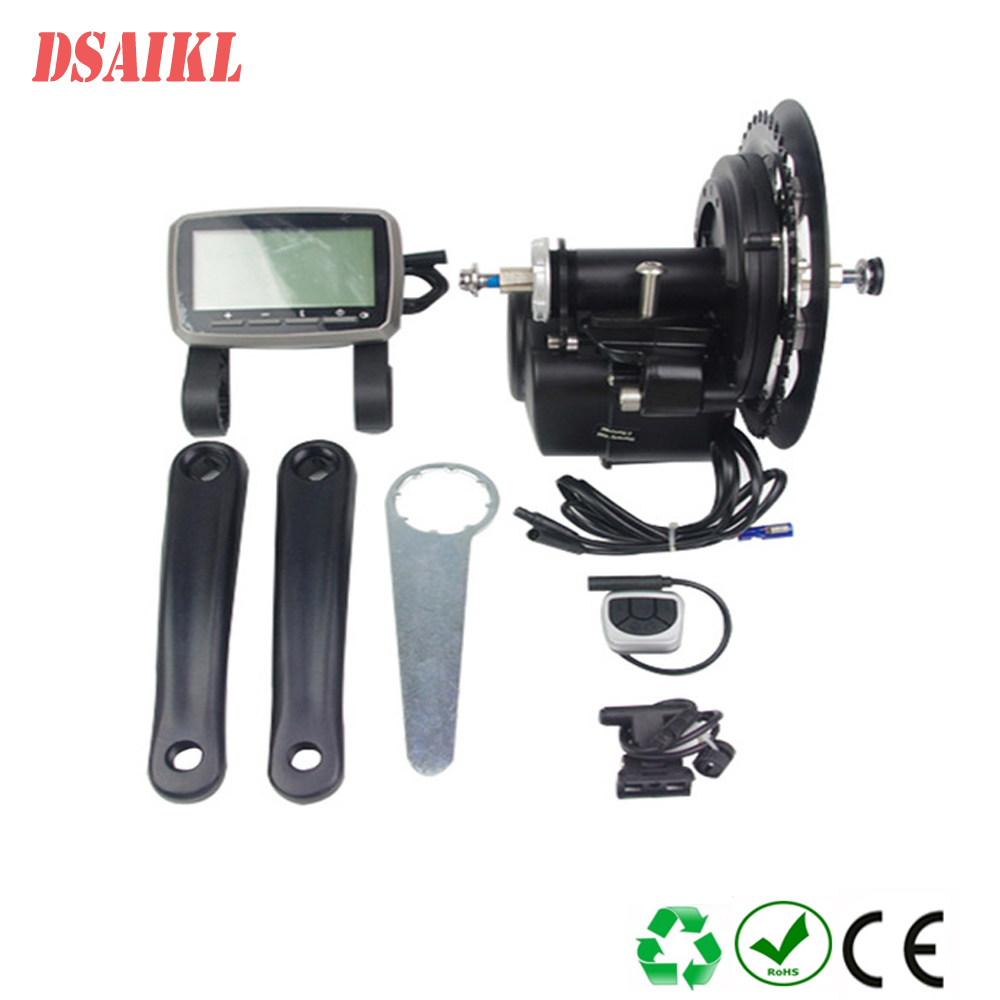 Tongsheng 350W 42T VLCD5 TSDZ2 electric bicycle central mid motor with throttle e-brake lever conhismotor tongsheng coaster brake version 36 48v 250 350 500w brushless geared mid drive motor kit vlcd5 display controller