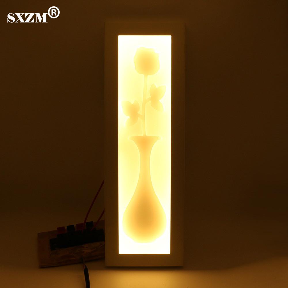 Sxzm 12 w moderne led mur lampe lumière forme de fleur décoration ac85 265v acrylique