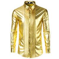 2018 Male Shirt Long-Sleeves Tops Shirt Mens Dress Shirts Slim Fit Club Shining Dress Singer Dancing Plus Size Men Shirt