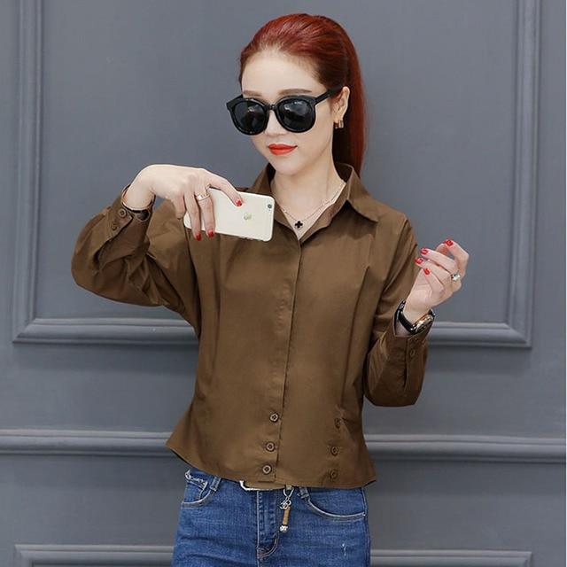 Women Spring Autumn Chiffon Blouses Shirts Lady Casual Three Quarter Sleeve Turn-down Collar Blusas Tops DF1725