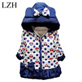 LZH Girls Jacket 2016 Winter Kids Cartoon Bowknot Polka Dot Hooded Jacket Baby Girls Warm Cotton Outerwear Coat Children Clothes
