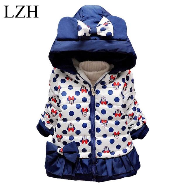 LZH Girls Jacket 2016 Winter Kids Cartoon Bowknot Polka Dot Hooded Jacket Baby Girls Warm Cotton Outerwear Coat Children Clothes