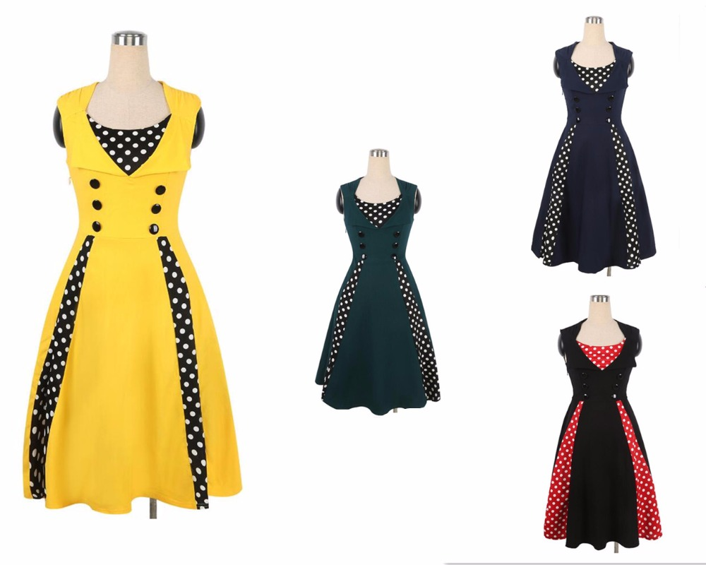 Fashion Ladies Sleeveless jelly Color O Neck Polka Dots Patchwork Tank Dress Summer Casual Dress