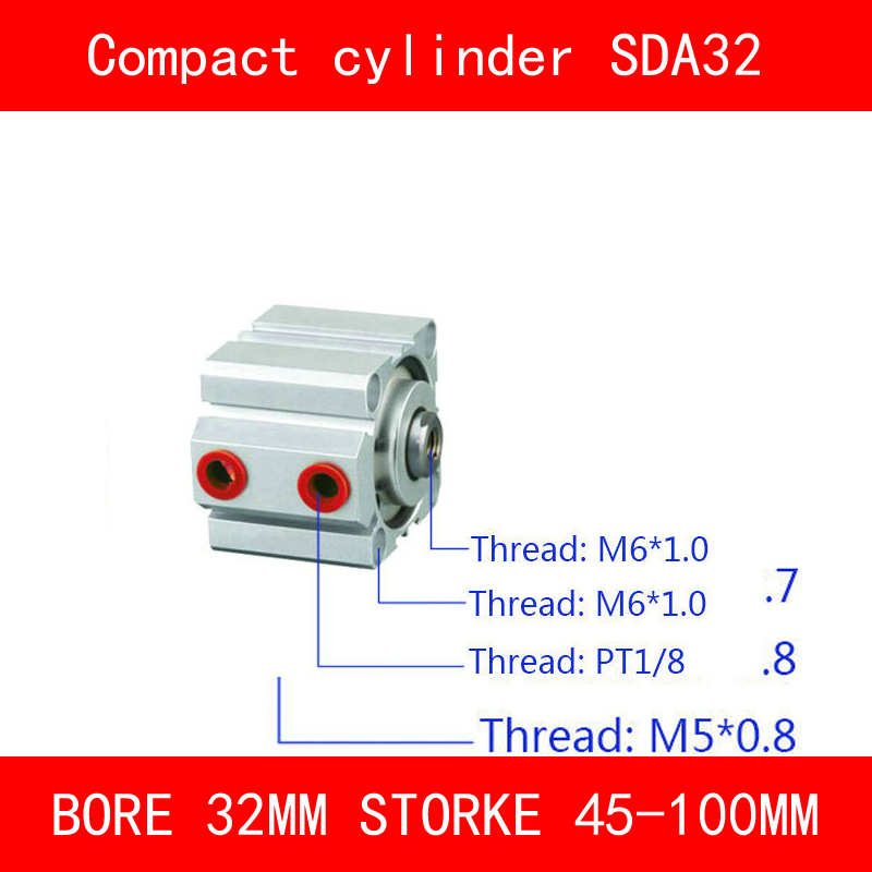 CE ISO SDA32 Cylinder Compact Magnet SDA Series Bore 32mm Stroke 45-100mm Air Cylinders Dual Action Pneumatic