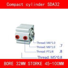 CE ISO SDA32 Cylinder Compact Magnet SDA Series Bore 32mm Stroke 45-100mm Compact Air Cylinders Dual Action Air Pneumatic sda100 5 b free shipping 100mm bore 5mm stroke external thread compact air cylinders dual action air pneumatic cylinder