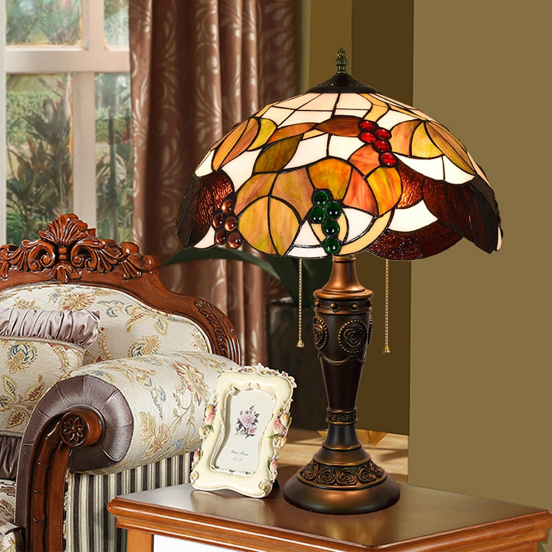 40CM Europe Fu creative color glass dining room bedroom bedside lamp American grape art lamp desk lamps 110-260V e27 e26