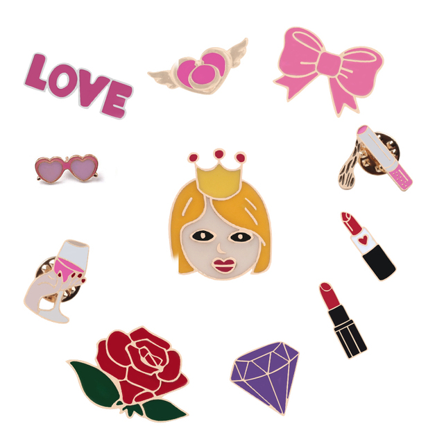 Cute Pins Crown Girl Love Gift Lipstick Hat Cigarette Cup Doll Fashion Brooch for Women Badge Skirt Bag Clothing Accessories