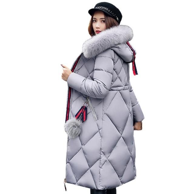 2017 الشتاء معطف الفرو كبير سميكة النساء سترة خياطة سليم القطن معطف طويل أسفل السيدات wowan سترة الإناث بانخفاض سترة