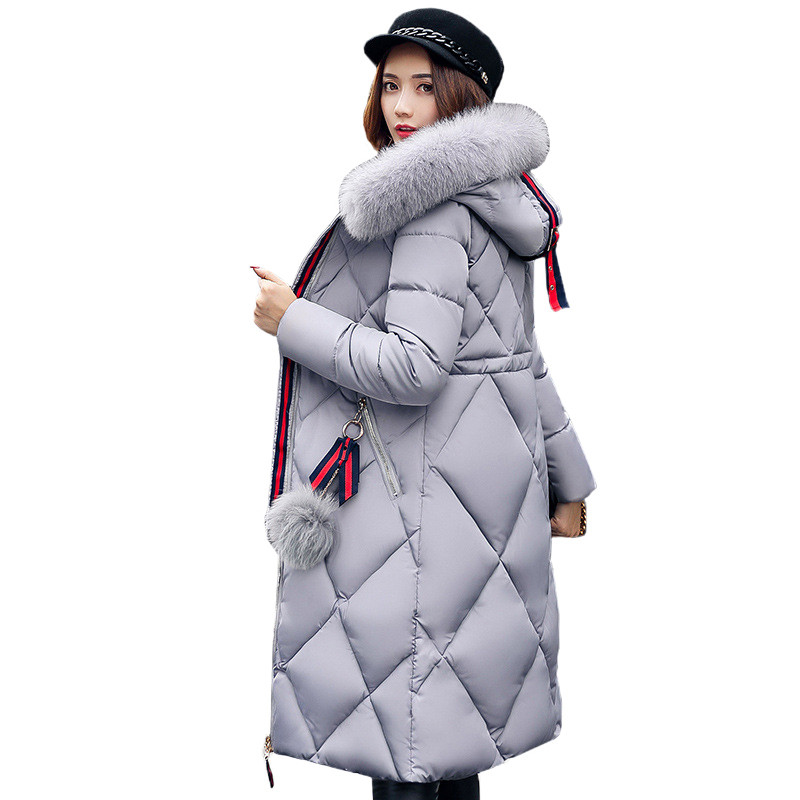 Winter Warm 2018 Big Fur coat Thickened Women Parka Stitching Slim Long Cotton Coat Down Ladies Wowan Parka Female Down Jacket