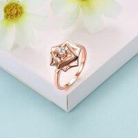 Real Rose Gold & Geel Goud Kleur Ring 925 Sterling Zilver Origami Bloemen Ringen voor Vrouwen Sieraden R0095