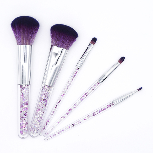 Fashion 5pcs Diamond Unicorn Pink Crystal Makeup Brushes Set Shinny Glitter Foundation Blending Face Brush maquillaje