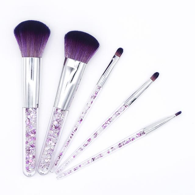 5 Piece Purple Stars Filled Handle Diamond Makeup Brush Set