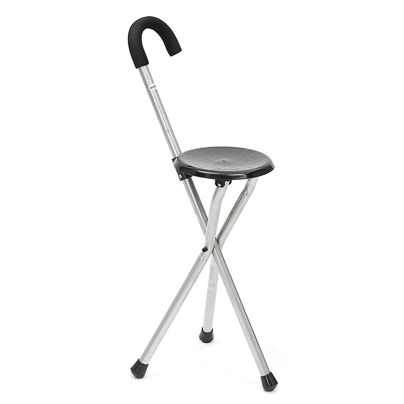 Folding Walking Chair Rest Stool Iron Walking Stick With Plastic Seat Non Slip Tripods Cane For Elder Outdoor Hiking Climbing folding cane chair walking stick with tripod stool