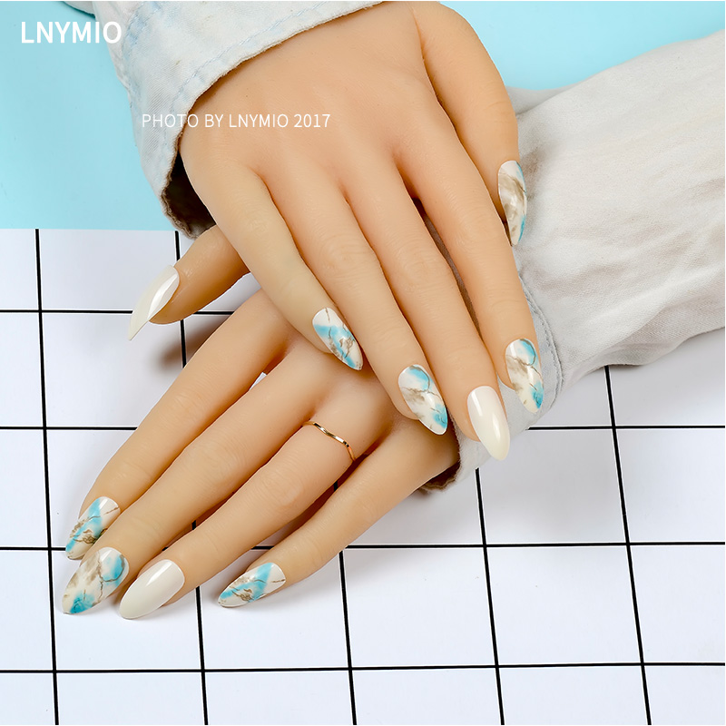 Natural texture tip fake nails blue and coffee color marble and ...