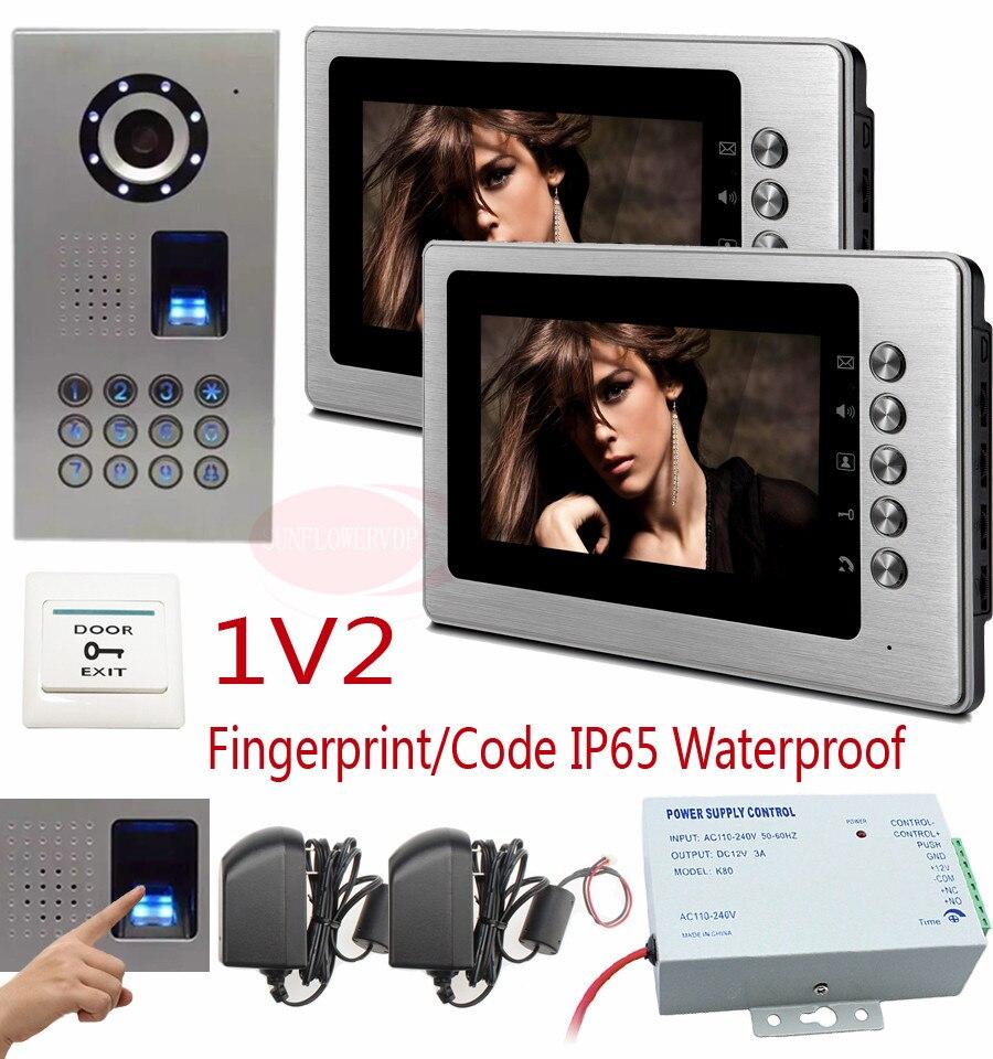 1V2 Video intercom For Private House Ip65 Waterproof HD CCD Camera Home Video Phones 2 Monitor 7 Color LCD Fingerprint  Unlock xeltek private seat tqfp64 ta050 b006 burning test