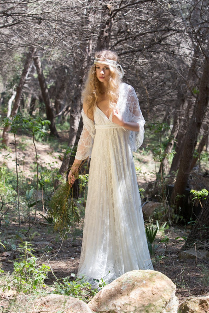 vintage boho wedding dress Ivory Bohemian Wedding Dress Beautiful Lace Wedding Long Gown Boho Gown Bridal Gypsy Wedding Dress