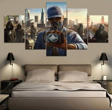 Watch Dogs 2 Game Home Decor Modern 5 Piece Paintings Wall Art Canvas Painting HD Print Room Artwork