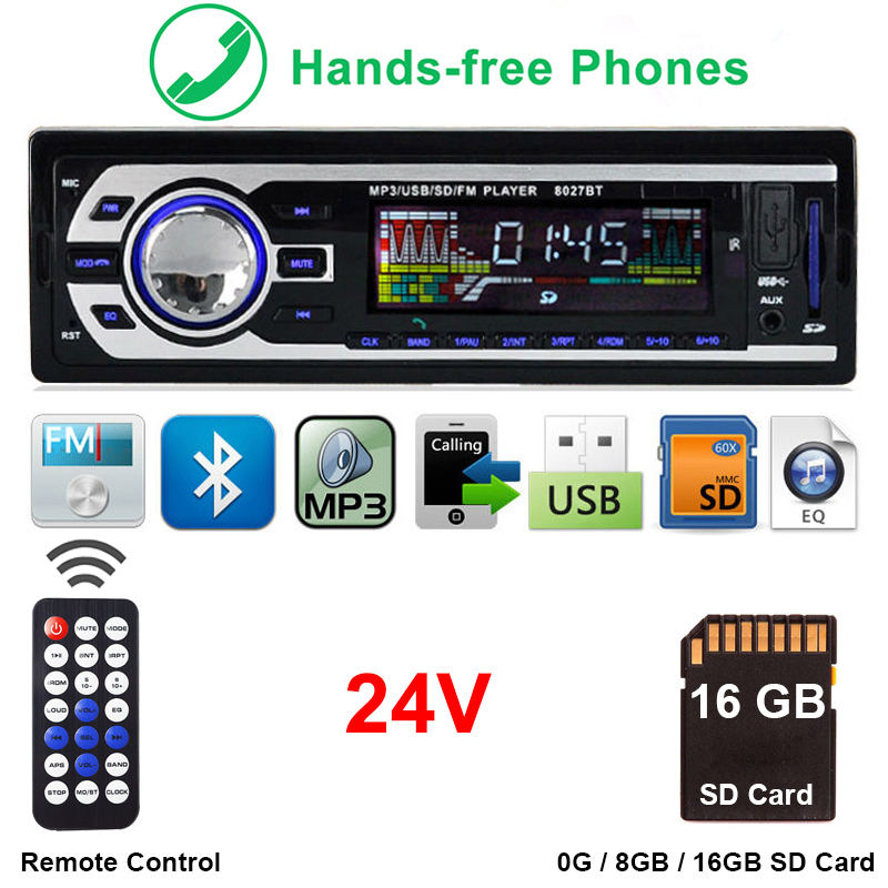 1 24 V Caminhão Autoradio Din Bluetooth Rádio SD MP3 Player Traço Rádios Coche Estereo Poste Parágrafo Auto de Áudio Estéreo carro Automotivo