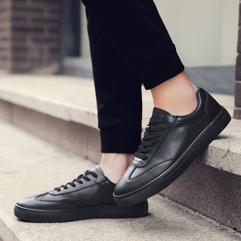 Hot Sale Men Black White PU Shoes Fashion Spring Summer Casual Men Shoes Lace-up Breathable Men Sneakers size 37-46 5 black lace up pu obi belt