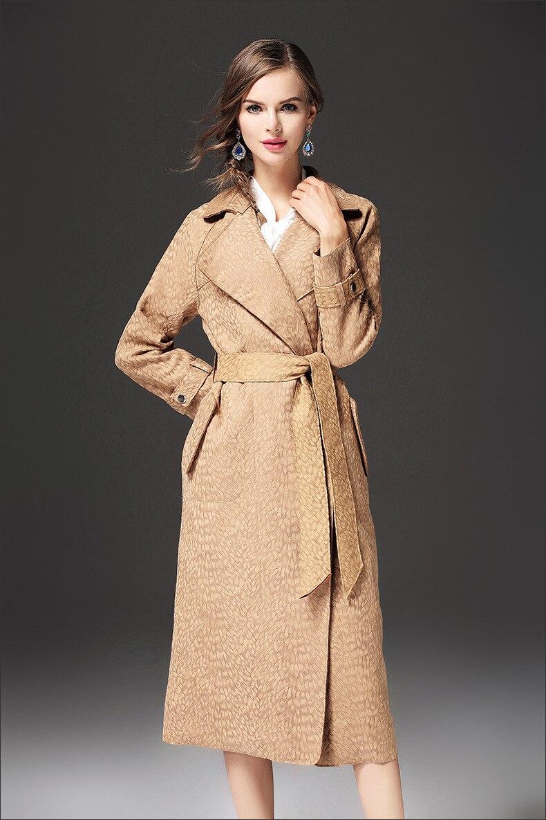 Couleur Coupe Manteau Femme Tranchée Revers Et Long Nouveau vent Ceinture D'hiver Automne 2017 Camel Solide De Daim Mode 7byvfY6g