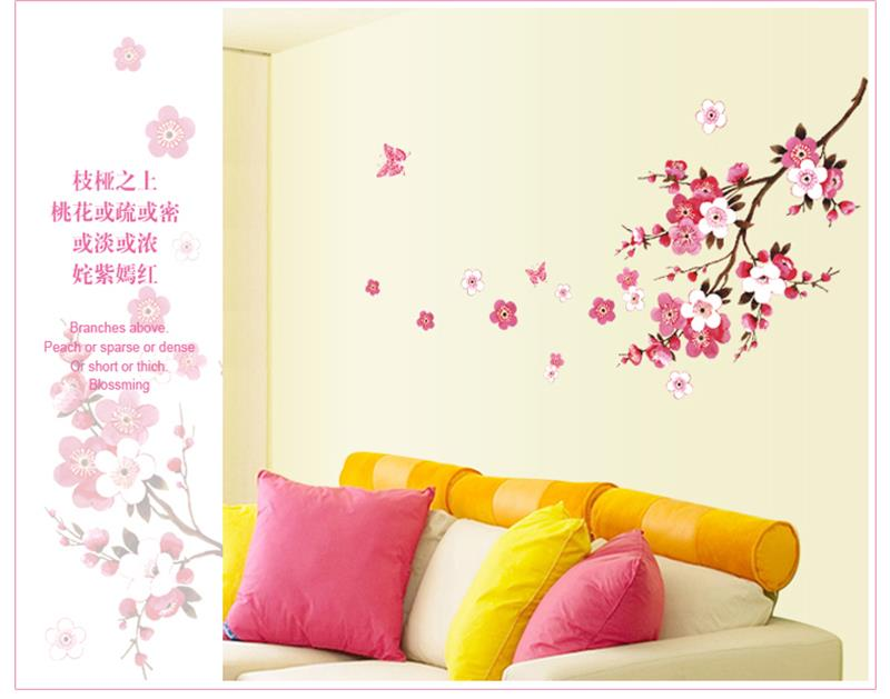 Awesome Romantic Sakura Flowers Wall Stickers Home Decorations 9053. Living Bedroom  Office Diy Floral Decals Tv Background Mural Art 4.0 In Wall Stickers From  Home ...