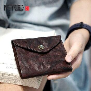 AETOO Original mens ladies old leather handmade short retro wallet simple Japanese