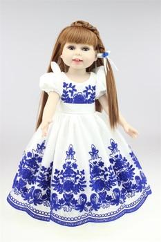 NPK 45 cm/18 Inch Reborn Girl Doll Handmade Soft Plastic Reborn Baby American Dolls with Lovely skirt for Kid's Gifts
