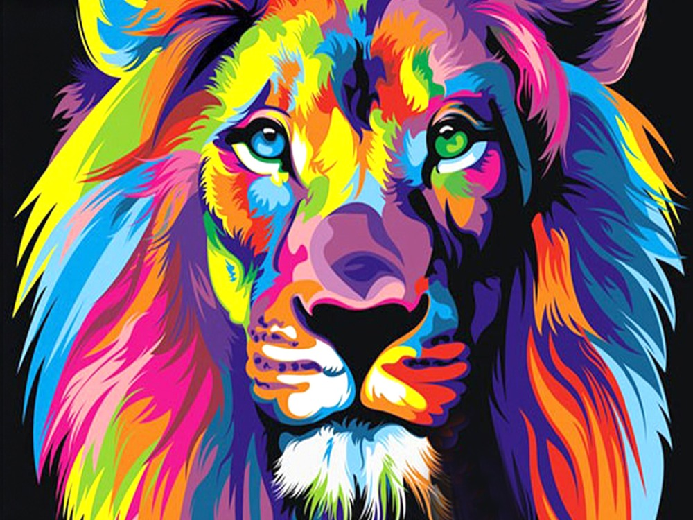 5D Diamond Painting Cross Stitch Colored Lion Diamond Embroidery
