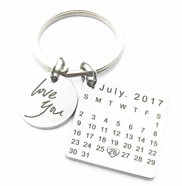 MYLONGINGCHARM Customize Birthday Calendar KeyChains Specialized Valentine's Day Gifts Anniversary Gifts Memorial Gifts 22x22mm