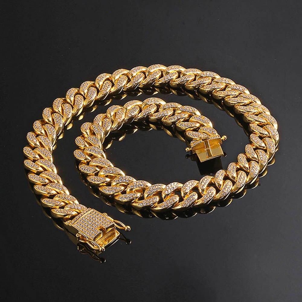 Homme femme hip hop MIAMI CUBAN LINK Plus Cool collier De Coulée De Cuivre Micro zircone cubique Fermoir ICED OUT Bling Bijoux