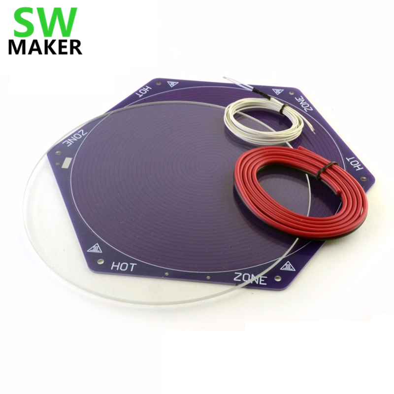 SWMAKER 1set Delta 3D Printer Kossel Mini Reprap Hex Heated Bed 170mm diameter Glass plate Thermistor Wiring mini 3d printer borosilicate glass plate 170mm 3mm thick boro glass top for rostock delta kossel