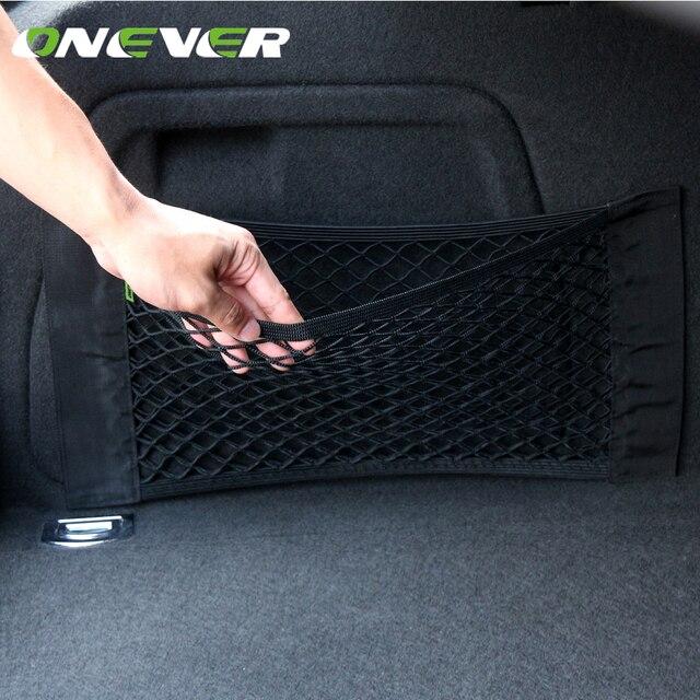 Onever 50x25cm Car Trunk Storage Elastic String Net Mesh Bag Car Magic Tape Sticking Holder Pocket Organizer Car Accessories
