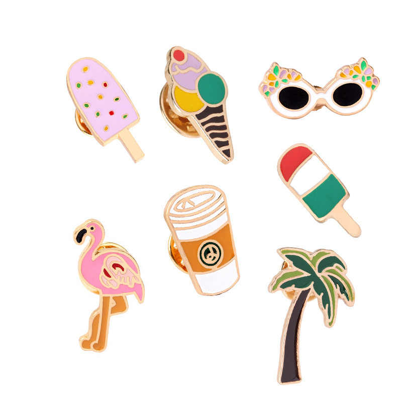 2018 New Creative Coconut flamingo coffee cup ice cream pines para ropa decoration Pin badge badge for backpack Cartoon C1090-TO