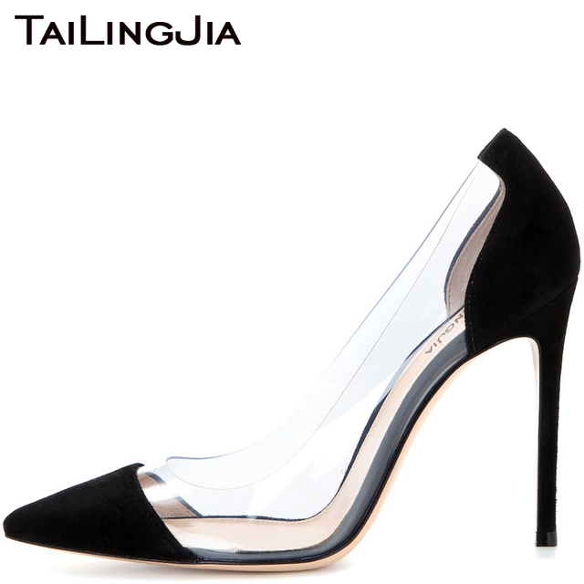 Faux Suede Black Mixed Clear Transparent Pvc High Quality Women Shoes Woman Pumps High Heel Pointed Toe Elegance Summer Shoes