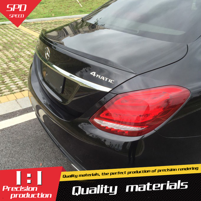 For Benz <font><b>W205</b></font> Spoiler ABS Material Car Rear Wing Primer Color Rear Spoiler For Benz <font><b>W205</b></font> C180 <font><b>C200</b></font> C260 Spoiler B 2015+ image