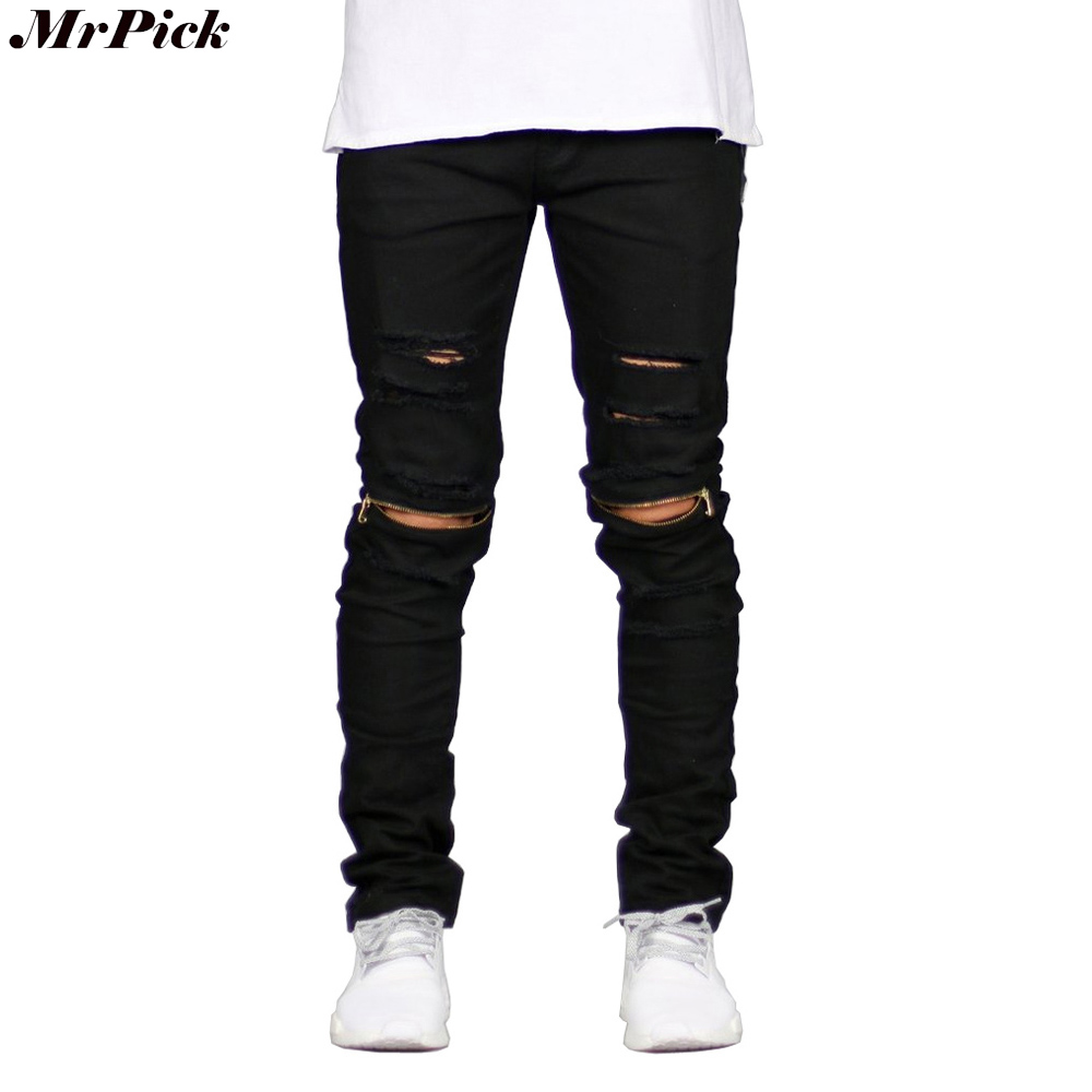 2017 Ripped Straight Jeans Men Slim Fit Zipper Jeans Men's Hole Denim Fabric Hip Hop Skinny Cotton White Blick Pants Casual Mens 2017 ripped straight jeans men slim fit zipper jeans men s hole denim fabric hip hop skinny cotton white blick pants casual mens