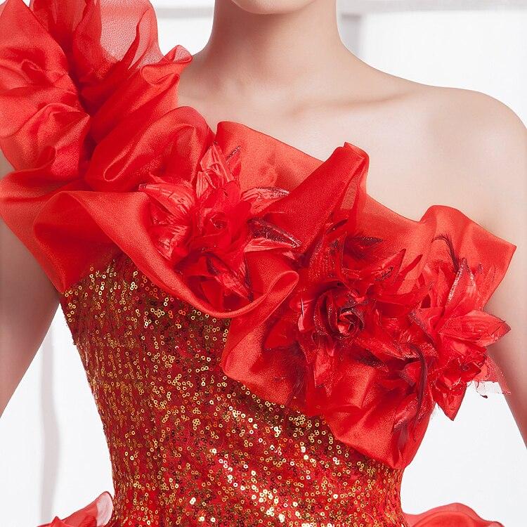 Quinceanera Kleider Prinzessin Rot/Grün Blume Eine Schulter ...