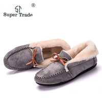 WEISE Casual Women Flats Shoes Winter Plus Velvet Flats Female Moccasin Shoes Women S Loafers Ladies