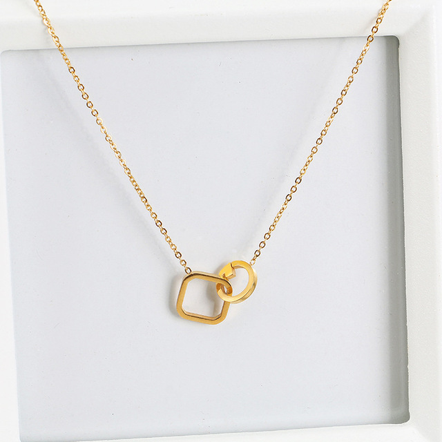 Titanium Stainless G Initial And Square Pendant Necklace Gold