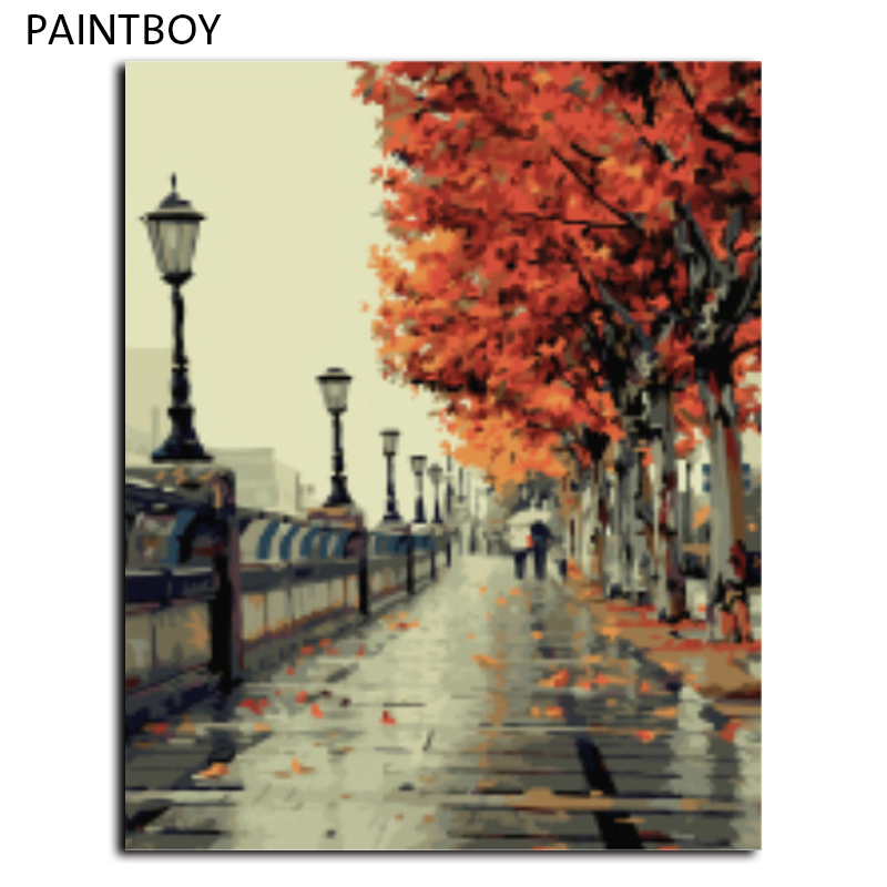 Autumn Of Eiffel Tower Frameless Home Picture Painting By Numbers DIY Digital Canvas Oil Painting Home Decor Living Room G117