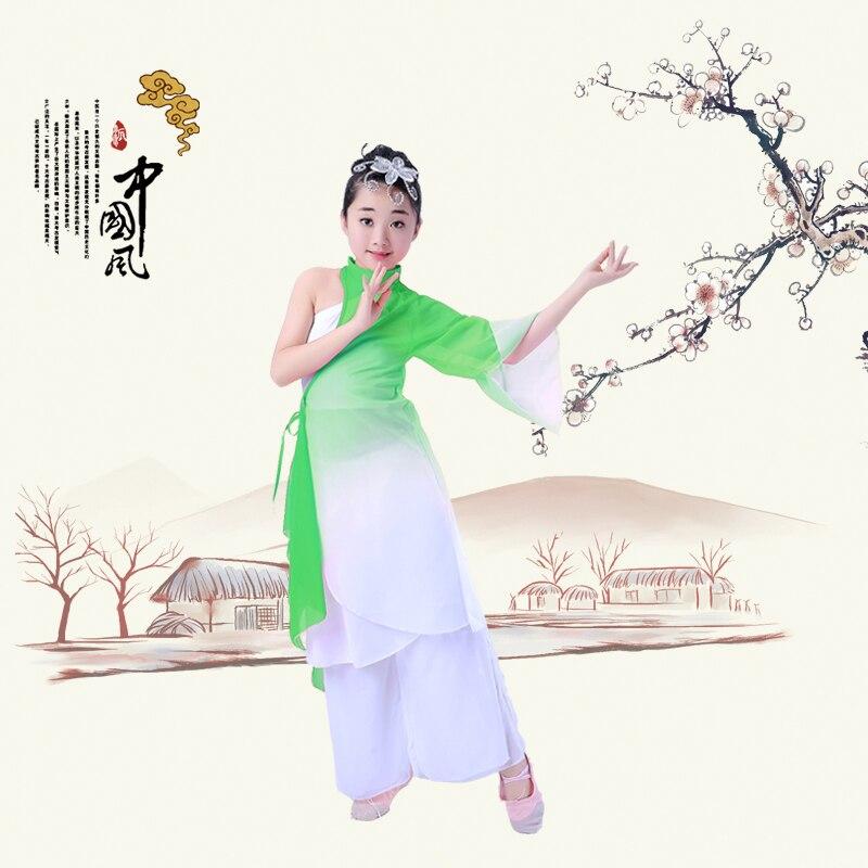 Chinese style Hanfu children classical dance costumes girls umbrella Yangko clothing performance
