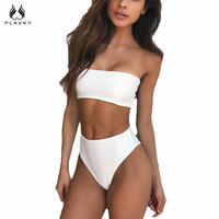 PLAVKY 2018 Lady Sexy Solid Strapless Bandeau Biquini Cut Swim Wear Bathing Suit Swimsuit Thong Swimwear
