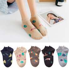 Spring and Summer Flamingo and Fox Series Woman Cotton Lovely Socks Painting Lady Female Boat Socks Short Ankle Women Socks spring and summer flamingo and fox series woman cotton lovely socks painting lady female boat socks short ankle women socks