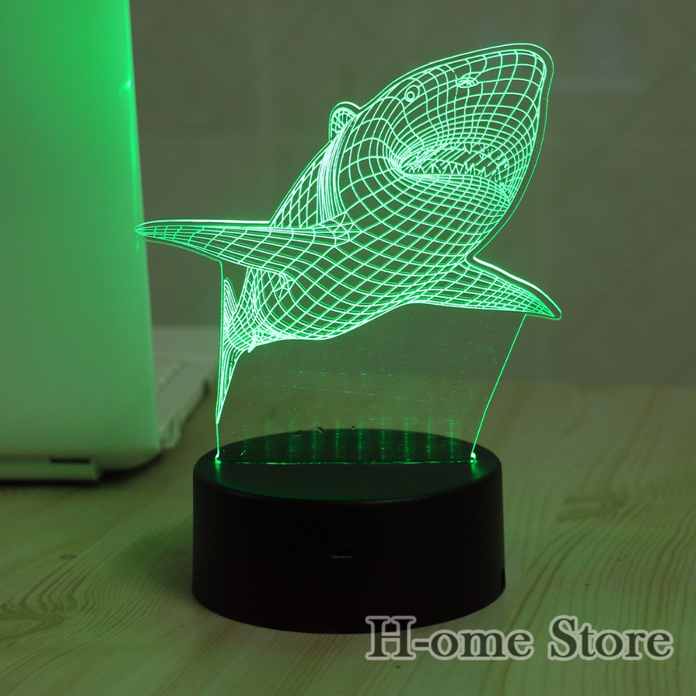 Aliexpress.com : Buy 7 Color Big Shark Lamp 3D Visual Led Night ...