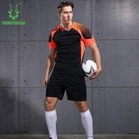 VANSYDICAL Men Soccer Sets Uniforms Running Training Sports Sportswear Fitness Exercise Gym Clothes Soccer Jerseys Shirt