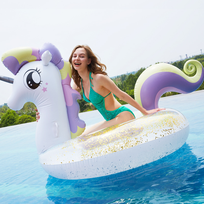 90/120/245  Sequin Inflatable Unicorn Pegasus Swimming Pool Float Crystal Swimming Ring Boat Circle For Simming Tube Pool