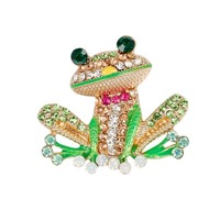 cute Energtic Light Green Enamel Crystal ribbon bow Frog animal Brooches Pin for women accessories