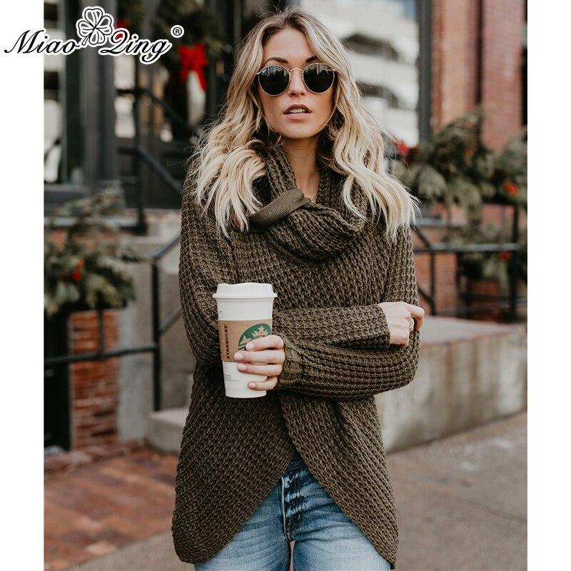 MIAOQING Casual mujer grueso tejer Cardigan bufanda cuello Irregular Tops botones Streetwear mujeres soldado suéter Color Venta caliente