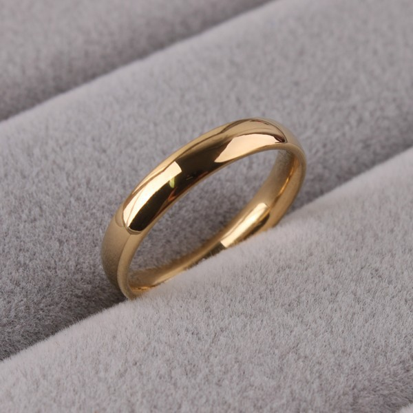 Free Shipping Wide 3mm Light Version  Gold Color Rings 316L Stainless Steel Women Jewelry  Wholesale Lots